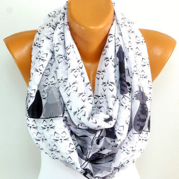 Scarf, Scarves, Shawl, Wrap, Cat and Dog Scarf, Cute Cat and Dogs printed, infinity Scarf, Lightweight Scarf, Gift for Christmas