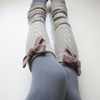 Classic Beige Leg warmer Tights layering Knit Boot cuffs Yoga socks Holiday Winter Cozy Chunky Gift