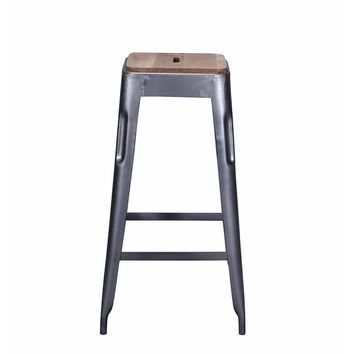 Tolix Style Bar Stool Grey - Iron with Wooden Seat - Reproduction | GFURN