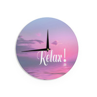 "Alison Coxon ""Relax"" Pink Typography Wall Clock"