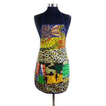 Bohemian Patchwork Apron with Pockets - Colorful African Wax Print Design