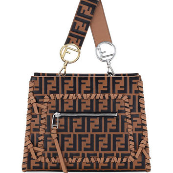 Fendi Small Runaway Whipstitch Logo Leather Tote Bag