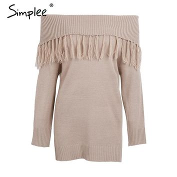 Casual off shoulder knitting sweater Tassel loose knit pullover