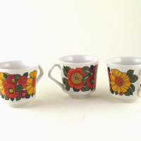 Vintage 1970's Italian floral espresso cups - set of 6