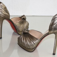$995 NEW Christian Louboutin Alta Nodo Nappa Pewter Dorsay Pumps Sandals Shoes 38