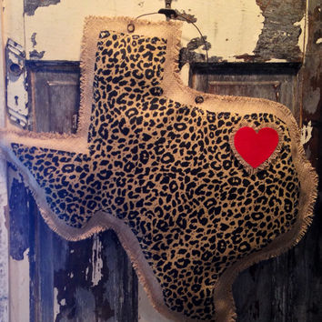 Animal print Texas Burlap Door Hanger