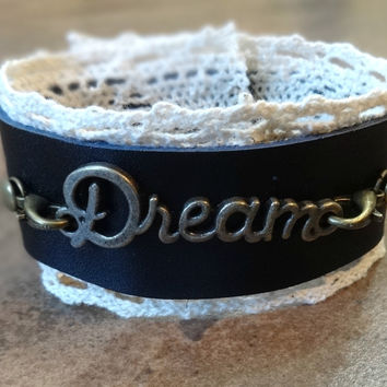 Leather and Lace Cuff - Dream