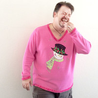 Quacker Factory Blingy Pepto Pink Tacky Ugly Christmas Sweater