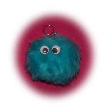 google eyes fluffy keyring pompom ball turquoise teal neptune monster Plain furry fur fluffy fuzzy keychain pom pom car cute