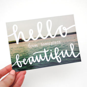 Postcards with Hand-Lettered Calligraphy. Hello from Someplace Beautiful . Set of 5