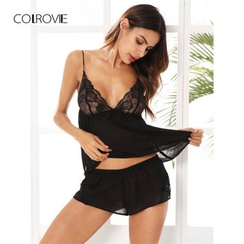 COLROVIE Lace Bodice Mesh Cami & Shorts Black Pajamas Women Sexy Casual Sheer Lingerie Patchwork Nightgown Slip Pajama Set