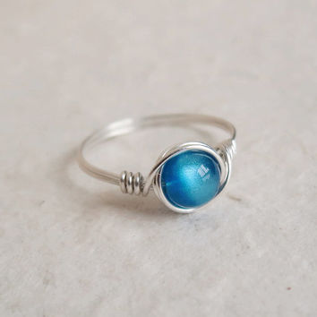 Dark Teal Chatoyance Ring - unique ring - cute ring