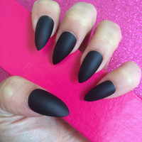 Luxury Hand Painted False Nails. Stiletto Matte Black Nails. 24 Nail Set.