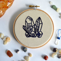 Crystals Embroidery Hoop Art - Geology Wall Hanging - Gems & Minerals Geometric Quartz - 4 inch hoop - Mini Hoop