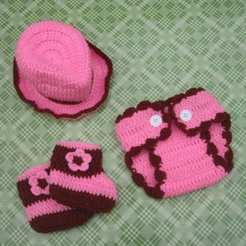 newborn baby girls cute cowgirl hat diaper boots set knitted crochet newborn photography prop costume outfits = 1946271044