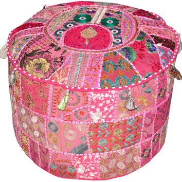 Pink pouf Gypsy Bohemian Vintage Patchwork Indian Pouf Round Ottoman Seat Stool Embroidered Pouffe round cotton stool chair bench foot stool