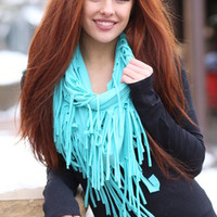 Mint Fringed Infinity Scarf