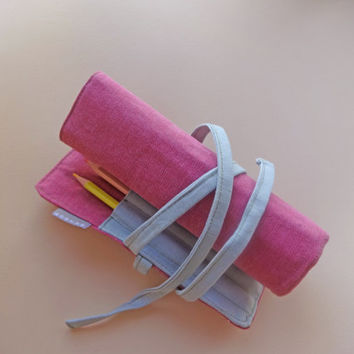 Pink Gray Roll Pencil Case Handmade, Waldorf Pencil case