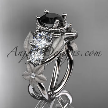 14kt white gold diamond floral, leaf and vine wedding ring, engagement ring with Black Diamond center stone ADLR69
