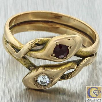 1880s Antique Victorian 14k Yellow Gold Diamond .20ctw Ruby Double Snake Ring
