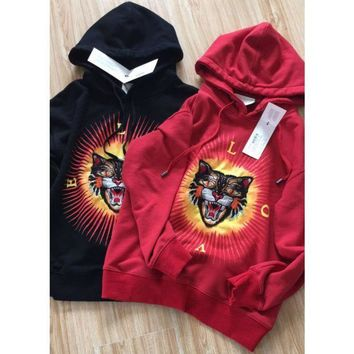 PEAPUF3 Gucci Fashion Long Sleeve Top Sweater Round Neck Tiger Embroider Sweatshirt Red