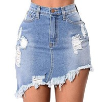 Summer new women midi skirt high waist Mini denim skirt oblique skirt Slim  Jeans bandage skirt american apparel