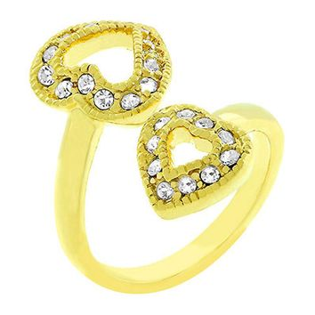 Dual Pave Hearts Ring Size 9