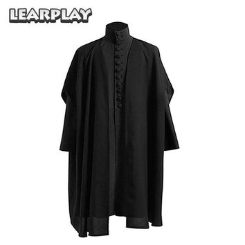 Cool Professor Severus Snape Cosplay Costume Deathly Hallows Hogwarts School Cloak Shirts Black Rope Halloween Costumes For AdultsAT_93_12
