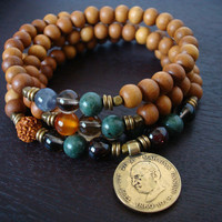 Men's Seven Chakra Sandalwood Mala Necklace or Wrap Bracelet - Mahatma Gandhi Coin - Yoga, Buddhist, Meditation, Prayer Beads, Jewelry