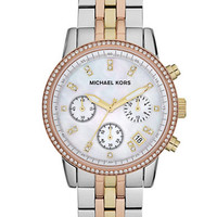 Michael Kors Ladies Ritz Tri-Tone Chronograph Glitz Watch