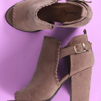 Qupid Suede Whipstitched Cutout Chunky Heeled Booties