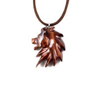 Lion Necklace, Mens Lion Necklace, Mens Lion Pendant, Wood Lion Necklace, Lion Pendant, Lion Jewelry, Men Jewelry, Men Necklace, Leo Jewelry