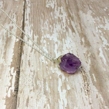 Amethyst Silver Plated Rough Nugget Pendant