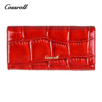 COSSROLL Vintage Women Wallets Plaid Long Design Ladies Purses Alligator Leather Wallet Female Clutch Hasp Zipper Coin Purses
