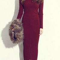 Turtle Neck Long Sleeve Furcal Bodycon Knitted Dress