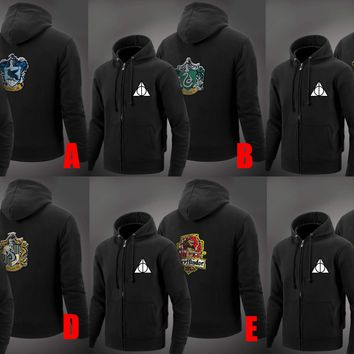 Harri Potter Hogwarts Gryffindor Slytherin Ravenclaw Hufflepuff Black Jacket Hoodie Hooded Sweatshirt Halloween Cosplay Costumes