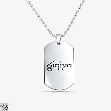 Zachary In Elvish, Lord Of The Rings Tag Necklace