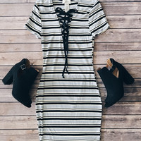 Aubree Lace Up Ribbed Dress