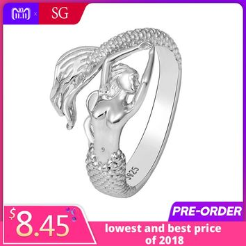 SG authentic sterling silver 925 beautiful Mermaid adjustable open size ring diy European fashion jewelry making for women gifts