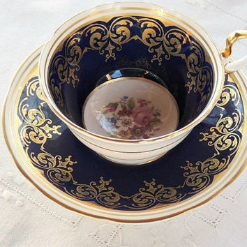 Vintage Aynsley Cobalt Gold Tea Cup and Saucer,Tea Party, Ornate Blue Gold English Bone China, Blue Gold Wedding, Signed and Numbered