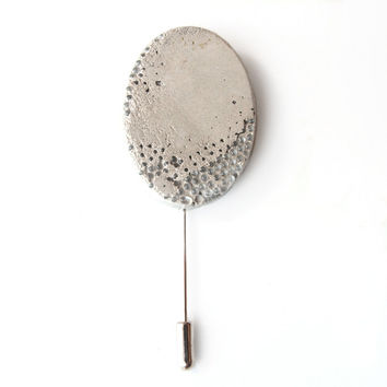 Geometric brooch pin, Oval brooch, Concrete brooch, Modern boutonniere, Concrete jewelry, Modern brooch, Beton lapel stickpin, Gray, Cement