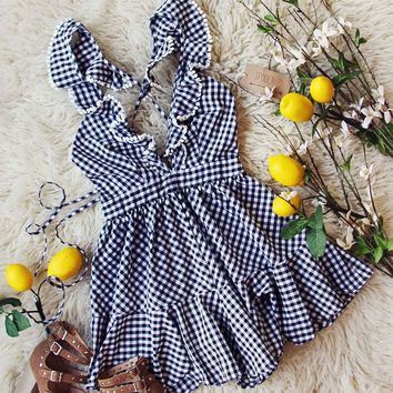 Limone & Gingham Ruffle Romper in Black