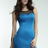 Blue Sweetheart Neckline Bodycon Dress with Floral Hemline