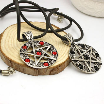 Free Shipping Invert Pentacle Pentagram Star Pewter Fashion Pendant Necklace For Lady Boy Man alchemist Necklace