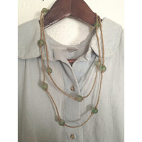 Recycled Glass Bead and Hemp Necklace