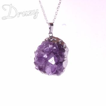 Druzy Irregular Random Natural Amethysts Quartz Geode Cut Necklace Crystal Piont Stone Pendant Natural Drusy Stone Healing 1pcs