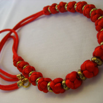 Vintage Handmade Chinese Macrame Necklace-Red/Black, Macrame Jewelry, Knotted Necklace, Nylon Cord Jewelry, Asian Jewelry,Oriental Necklace
