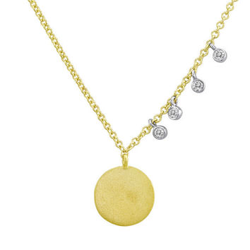Yellow Gold Disc and Diamond Bezel Necklace