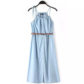Summer Stylish Denim Slim Camisole Dress Prom Dress One Piece Dress [6651192833]