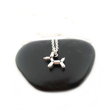 Balloon Dog Charm - Sterling Silver Necklace - Gift for Her